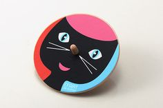 Large wooden spinning top toys beautifully designed by Illustrator Efrat de Botton Toys diameter: 4in  Made of high quality wood and silkscreen printed