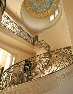 Luxury staircase with pearl crown molding
