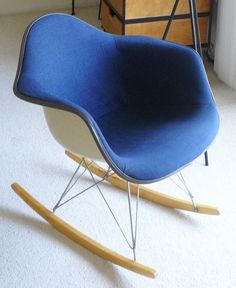 MidCentury Eames Blue Shell Rocking Chair Girard Fabric Belmodo on Etsy