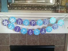 frozen inspired happy birthday banner with glitter (purple and light blue) on Etsy, $20.00