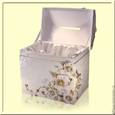 Купить Свадебный сундук - белый, сундук, свадебные аксессуары, космеи, Молодоженам, сундук для денег