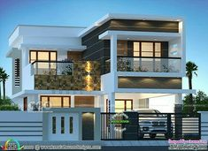 200 sq-m 3 BHK modern house plan 3 bedroom, 2150 square feet modern contemporary style house in flat roof style by Dream Form from Kerala. 3 Storey House Design, Duplex House Design, House Front Design, House Gate Design, Small House Design, Home Floor Design, 4 Bedroom House Designs, Home Design Plans, Modern Exterior House Designs