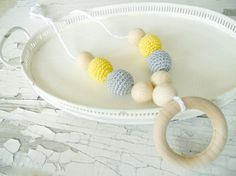 Crochet teething necklace Nursing necklace by bboutiquebeauties, $19.00