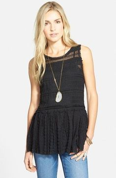 70f4a3002d9f2a FREE PEOPLE Black Sheer BOHO Lace PUCKER Peplum Tank Tunic Top L  #IntimatelybyFREEPEOPLE #Blouse