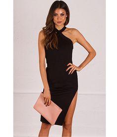 Francesca-High-Neck-Bodycon-Floral-Dress-Black-AGDRE196 ...