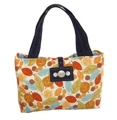 Red Autumn Tote handbag leaves AUD59.00 An flair of red autumn leaves shopping bag. Made of 100% soft to touch cotton fabric. Inside is fully lined with ocean blue cordroy velvetry material with pockets as shown. The front detail buckle is made of 3 vintage seashell buttons.  100% unique and one of its kind. Strap is made of denim material.   Dimensions: 38cm (top width) X 30cm (bottom width) X 22cm (tall excluding strap) X 8cm deep  http://www.imusthavethat.com.au/pd-red-autumn.cfm