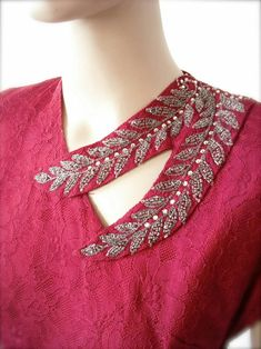 Beaded Wine Lace Gown with Matching Bow by BygonesVintageRVA Salwar Neck Designs, Neck Designs For Suits, Kurta Neck Design, Neckline Designs, Sleeves Designs For Dresses, Back Neck Designs, Dress Neck Designs, Kurta Designs Women, Collar Designs