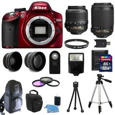 Nikon D3200 Digital SLR Camera Red + 4 Lens Kit 18-55mm VR + 55-200 mm VR + 52mm 2X Professional Telephoto and Wide Angle Lenses + Backpack + Zoom Case + 52mm Filter Kit + 52mm UV Filter + 50-Inch Photo/Video Tripod + Flexible Tripod + Cleaning kit + Screen Protectors + Transcend 32GB and More Photo Product Features Kit includes: Nikon 18-55mm f/3.5-5.6G AF-S DX VR Nikkor Zoom Lens + Nikon 55-200mm f/4-5.6G ED IF AF-S DX VR [Vibration Reduction] Nikkor Zoom Lens 52m..