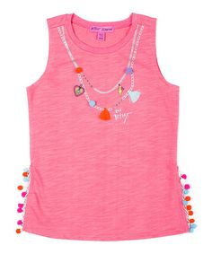 Another great find on #zulily! Pink Charm Necklace Tank - Girls #zulilyfinds