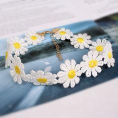 Beautiful Tattoo Choker Necklace Yellow & White Daisy Flower Choker Boho 80S…
