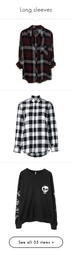 """Long sleeves"" by pierce-the-sunflower ❤ liked on Polyvore featuring tops, shirts, flannels, jackets, white plaid shirt, lightweight shirt, white flannel shirt, tartan plaid flannel shirt, tartan shirts and black"