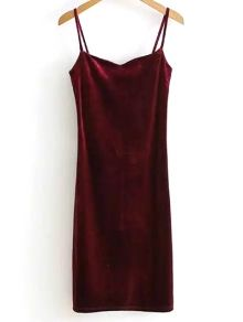 Solid Color Spaghetti Straps Velvet Dress
