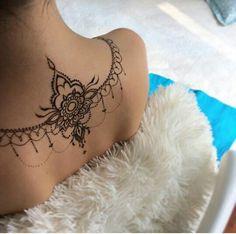 Best tattoos ideas for women ! Mehndi Tattoo, Henna Tattoo Back, Back Henna, Lace Tattoo, Henna Tattoo Designs, Sternum Tattoo, Girly Tattoos, Trendy Tattoos, New Tattoos