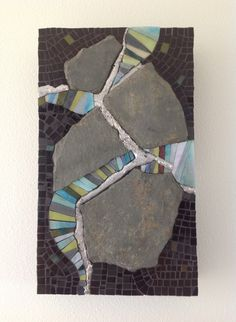 Original mosaic using slate, stained glass and solder on a wood box by Maureen Zannini. Design is continued on all 4 sides.
