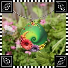 Veronica Jeong - Skinner blend swirled lentil bead pendant with flower clay embroidery