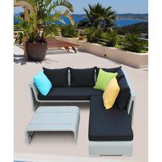 Gray Loui Modern Outdoor Sectional Sofa Set - Patio - Office/Patio