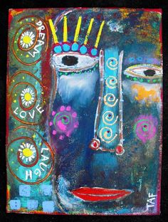 """Dream Love Laugh"" mixed media painting created by Tracey Ann Finley."