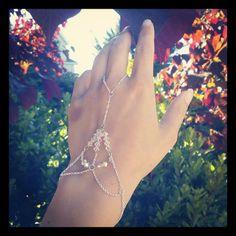 Silver Slave Bracelet with Embellished with Swarovski Crystals. $15.00, via Etsy.