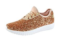 a3d06af02d10 ROXY ROSE Women Fashion Jogger Sneaker - Lightweight Glitter Quilted Lace  Up Shoes   Elastic Tongue