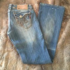 MEK Denim Jeans Distressed light wash size 27 MEK jeans.  Boot it with cute pockets. MEK Jeans Boot Cut
