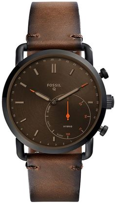 Fossil Q Men Commuter Dark Brown Leather Hybrid Smart Watch Stylish Watches, Luxury Watches, Cool Watches, Casual Watches, Fossil Watches For Men, Smartwatch, Android Wear, Bracelet Cuir, Dark Brown Leather