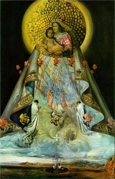 The Virgin of Guadalupe, 1959, Salvador Dali. There is an original Spanish Guadalupe, where a cathedral in Extremadura was built over the legendary site of the discovery of a Black Virgin by a farmer following a lost cow. This Guadalupe is the inspiration for the Mexican myth.