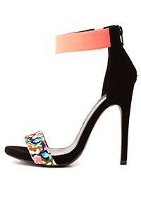 Floral Color Block Single Strap Heels