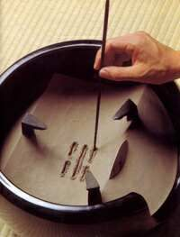 The Japanese tea ceremony. Preparing ash in the furo. …