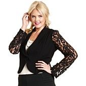 ING Plus Size Jacket, Cropped Lace