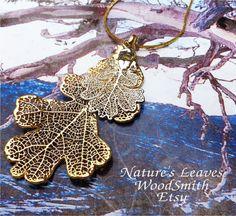 Real Oak Leaf Jewelry, Double Oak Leaves, Silver and Gold, Custom Design. $21.95, via Etsy.