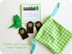 Monkey and Crocodile finger puppet set with downloadable pattern peices