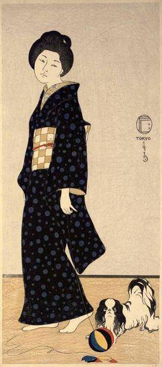 Fritz (Friedrich) Capelari (1884-1950)Woman with Pekinese, Tokyo - Japan - 1915