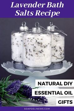 Bath Salt Ornaments DIY: An Easy Essential Oil Gift for the Holidays. Discover how to make easy DIY bath salt ornaments with lavender essential oil in just 15-minutes for easy last minute holiday gifts for friends and family as well as teachers, coworkers, neighbors -- or anyone else on your holiday gift list. Gift giving can be a challenge. Especially if you want to give a homemade gift that's not only meaningful, but also natural. Easy essential oil gifts to make and gift for Christmas.