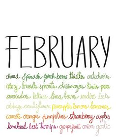 February is the month for beans and peas, spinach and garlic, grapefruits and Pippin apples #february #winter #veggies #fruits