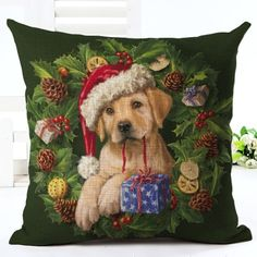 Puppy In Santa Hat Christmas Cushion Cover. 30% proceeds from every purchase goes to animal charities.