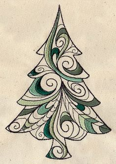 Craft a Christmasy or woodsy scene with this loopy tree design. Machine Embroidery