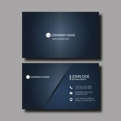 Dark blue business card template vector 01 - www.welovesolo.co... Business Cards Layout, Luxury Business Cards, Elegant Business Cards, Cool Business Cards, Professional Business Cards, Business Card Logo, Business Card Design, Creative Business, Construction Business Cards