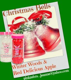 Pink Zebra Custom recipe CHRISTMAS BELLS Winter Woods & Red Delicious Apple Sweet delicious apple mixed with the creamy, wood scent creates a sweet creamy delight!  email for a sample pinkzebra_jeanne@yahoo.com
