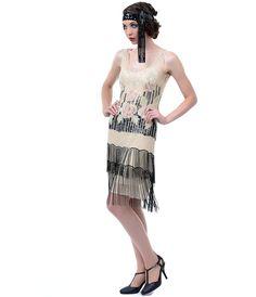 Downton Abbey Unique Vintage Ivory & Rose Elegant 1920s Downton Abbey Dress