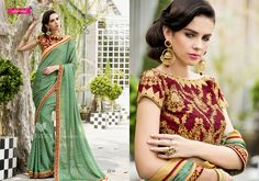 Gorgeous Green & Maroon Embroidered Party Wear Saree #party #festive #saree