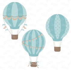 Premium Vintage Hot Air Balloons Clip Art & Digital par AmandaIlkov