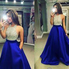 Blue Beading Halter A-line Satin Prom Dresses 2017