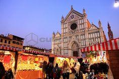 Christmas market, Santa Croce square, Florence, Tuscany, Italy, Europe
