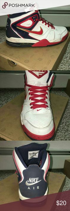Nike Air Flight Falcon Nike Air Flight Falcon Red, Blue, White Size 9.5  Sneakers have some wear on them. They have some marks & scuffs on them, as shown in the pictures. Nike Shoes Sneakers