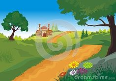 Illustration about Mosque with beautiful natural scenery - cartoon design, beautiful view, pretty and funny. Illustration of adorable, game, cloud - 77006756 Islamic Cartoon, Natural Scenery, Cartoon Design, Mosque, Clouds, Game, Illustration, Pretty, Nature