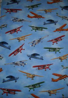 Retro Vintage Look Airplane Fabric Cotton 54 Quot Moda New