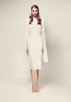 Alex Perry Alaroy Lace Long Sleeve Dress With Slip - White - Coco California