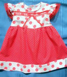 """Купить Платье """"Монпансье"""" - ярко-красный, в горошек, платье для малышки, платье для девочки, платье купить"""