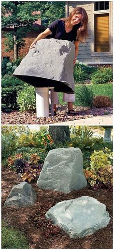 Clever idea! Artificial rock - make sure whatever you place it over doesn't require heat to escape i.e utility box. #churchsource #gardeningideas #gardening