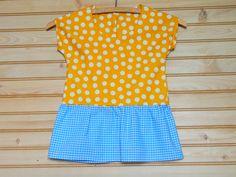 Yellow Polka Dot Fun with Blue Gingham Skirt Dress by TeacherHomemade on Etsy